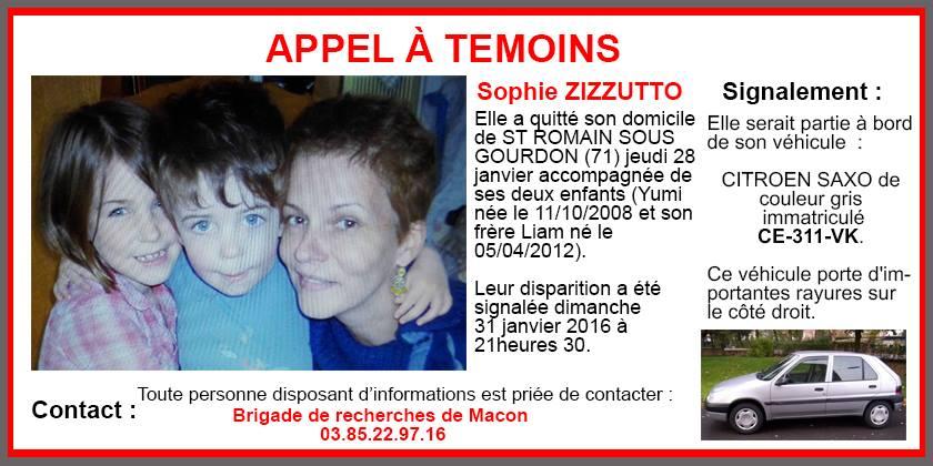 Disparition, Sophie Zizzutto, Liam, Yumi, appel à témoins, gendarmerie nationale, Saint-Romain-sous-Gourdon, angoisse, citroën saxo grise,