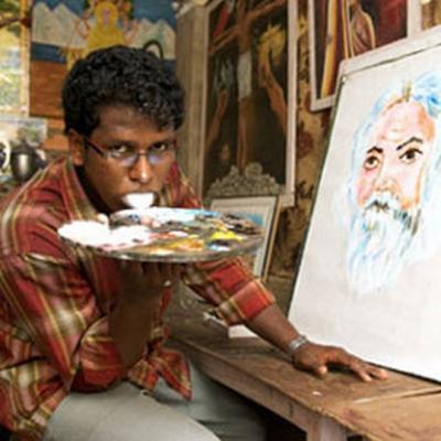 crée, artiste, oeuvres d'art, avec la langue, insolite, peinture, créativité, indien, pinceau, toile, extraordinaire,