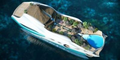 yacht, en forme, île tropicale, flottante, insolite, mer, croisière, nouveau concept, extravagance, luxe, tape à l'oeil, design, volcan privé, Yacht Islan design,